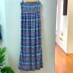Gap Blue & White Striped Maxi Dress